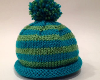 Teal + Green Newborn Knit Baby Hat with Pom Pom - Handmade - READY TO SHIP