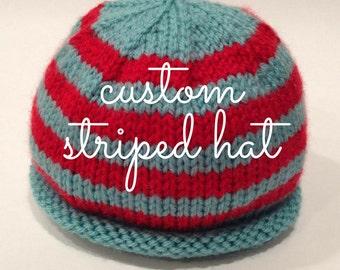 Striped Baby Hat - Custom Knit