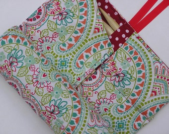 double pointed knitting needle case - organizer  - crochet hook - organizer - 28 pockets - colorful mod paisley print