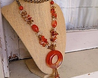 FREE SHIPPING Vintage GlassBeaded Necklace with Tassle Fringe Accent