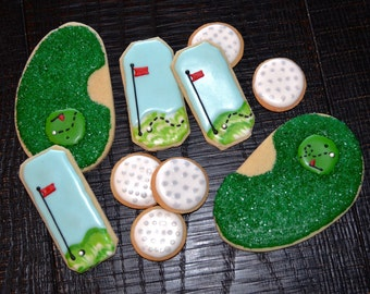GOLF THEME assorted decorated cookies. Golf balls, tee, fundraiser, birthday, party, event.