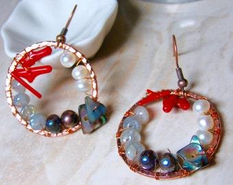 Ocean Tide - Coral, Pearl, and Moonstone Copper Hoop Earrings