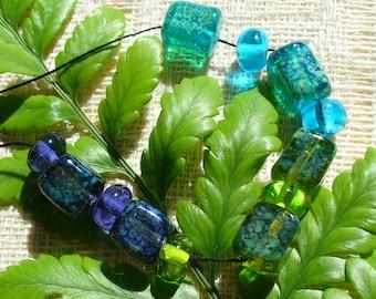 Handmade Lampwork Glass Beads by Catalina Glass SRA Gem Cubes