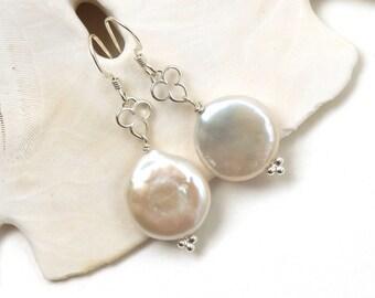 Coin Pearl Earrings, Minimalist Earrings, June Birthstone Earrings, Wedding Earrings, Cream Pearl Dangles, Bridal Earrings, Lynette