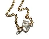 Herkimer diamond nugget neckace, Layering necklace