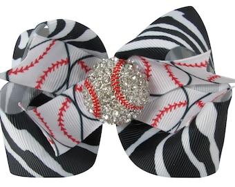 Zebra Rhinestone Baseball Hair Bow, Softball Choose your bow colors, Bling for Girls, Hair Clip