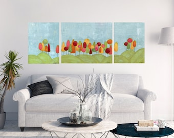 Colorful Landscape painting. Whimsical art. Lollipop trees. original art. Set of 3. Original Mixed Media Print. Canvas prints.