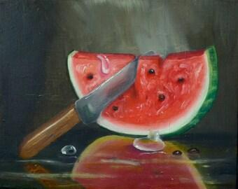 Watermelon Slice, An  Original Oil Painting