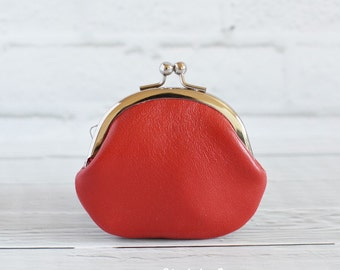 Women's Red Leather Clasp Change Coin Purse Valentine's Day