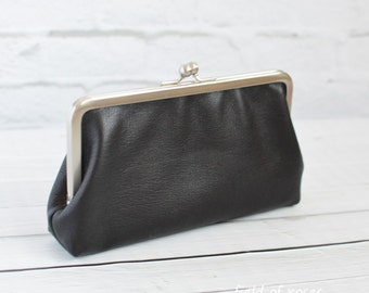 Black Minelli Leather Kisslock Clutch Phone Wallet Frame Purse iphone wallet Smartphone wallet Long Wallet Made to Order