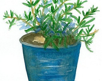 Rosemary Herb Kitchen Art Original Watercolor Painting