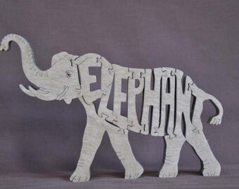 Elephant Animal  Puzzle Wooden Toy Hand Cut with Scroll Saw