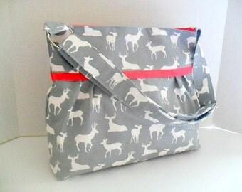 Gray Deer Diaper Bag - Gray Deer - Coral - Deer Diaper Bag - Crossbody - Nappy Bag - Messenger Bag - Diaper Bag