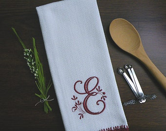 Burgunday Monogrammed Kitchen Towel, Burgundy Kitchen Decor