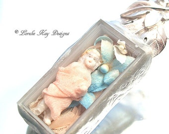 Pretty as a Peach Charlotte Frozen Charlotte Necklace Doll in Box Wearable Doll Lover Necklace Lorelie Kay Designs Original