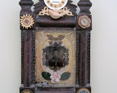 """Original """"Timepiece"""" assemblage shadowbox wall art about time"""
