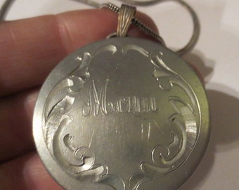 ON SALE Vintage Engraved MOM Pendant Pewter Necklace Mother's Day