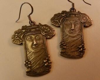 Sterling Silver Veiled Goddess Earrings Gypsy Woman Art Deco