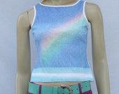vintage 90s RAINBOW sleeveless tee | raver photoprint | XS