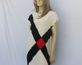 vintage 80s COLOR BLOCK dress | minimalist silk shift | M | free ship