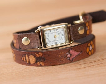 Ladies Leather Watch - Handmade Skinny Double Wrap Watch in the Meadow Pattern with bees, honeycomb and flowers - pink and mahogany