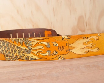 Guitar Strap - Leather Dragon Guitar Strap - Breathe Pattern in gold and tan - Handmade Guitar Strap for Acoustic or Electric Guitars