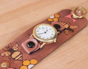 Cuff Watch - Leather Wide Cuff Watch with Bees and Flowers - Handmade in the Meadow pattern in yellow, gold and antique mahogany