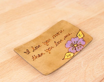 Wallet Insert - Leather Wallet Card with custom inscription - Flower in Purple, yellow and antique brown