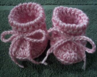 Pink Booties, Newborn Booties