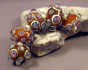 Handmade Lampwork Beads by Monaslampwork - Pretty Bubbles - Lampwork Glass Beads by Mona Sullivan Artisan Beads Boho Gypsy Tribal Organic