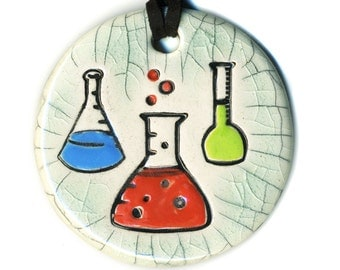 Chemistry Flasks Ceramic Necklace In Crackle