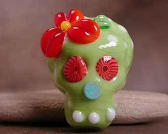 Sugar Skull Bead Lampwork Focal Bead Day of the Dead Lime Green Divine Spark Designs SRA