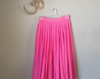 Vintage 60s pink pleated chiffon skirt ~ retro ~ rockabilly ~ crybaby