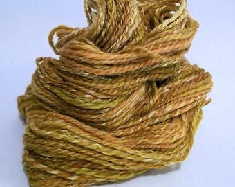 SALE Lime and Coconut, handspun wool and silk yarn, 37 g/124 yds