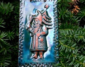 Belsnickle Santa in Holly Green Ceramic Tile