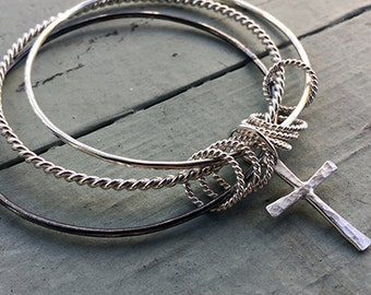 Christian Bangle Bracelet Set - Trinity Symbol Bracelet - Cross Charm Bracelet - Baptism Faith Jewelry - Stacking Bangles B1073