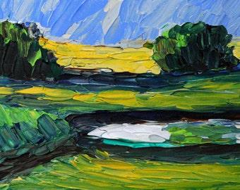 Original Acrylic Impasto landscape painting 5x7 ready to hang, Impasto, Palette Knife, Bobbi Doyle-Maher