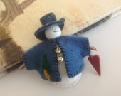 Snowman Christmas Ornament Handmade Tiny Blue Felt Snowman Christmas Ornament Holiday Christmas Snowman Ornament