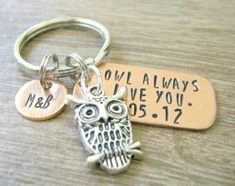 Personalized Owl Keychain, Owl Always Love You with anniversary date, boyfriend gift, girlfriend gift, anniversary owl, couples keychain