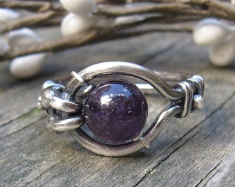 20% OFF TODAY - Free Floating Kinetic Amethyst Ring .. 8mm deep purple amethyst sterling gemstone ring statement ring