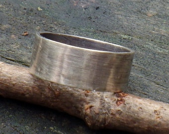 Man Ring ... 8mm wide RUGGED weathered sterling silver ring men's rustic ring mens wide band ring mens wedding band rustic wedding band