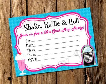 Printable 50's Sock Hop Fill In Invitation - Instant Download