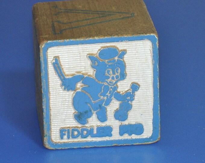 Vintage 1960s Fiddler Pig Wood Block Letter Q