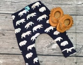 Navy blue bear baby boy toddler leggings pants