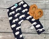 Navy blue bear baby boy toddler leggings pants