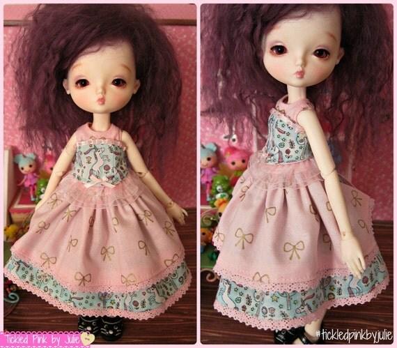 Leekeworld Mini B-Type Body Two Piece Pastel Unicorn Set Tiny BJD Dress by Tickled Pink by Julie