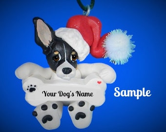 tri-color Rat or Toy Fox Terrier Santa Dog Christmas Bone Ornament Sallys Bits of Clay PERSONALIZED FREE with dog's name