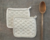 Set of Two Felted Wool Potholders  Felted Wool Trivets  Functional Art for the Modern Kitchen  Hand Made  in Light Gray and Soft White