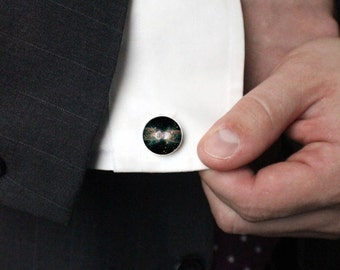 Ant Nebula Cuff Links - Black and White - Galaxy Accessories - Wedding Party, Gifts for Men, Dude Cufflinks, Science Wedding, Outer Space