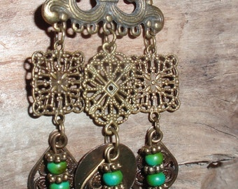 Gypsy BOHO Turquoise Chandelier Bronze Earrings
